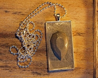 Concrete OBLONG Pendant and Chain with a concrete teardrop