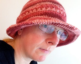 CROCHET Aubreigh HAT in Rosewood, Adult Ladies size Handmade