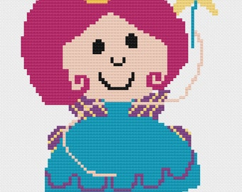 Fairy with Crown Cross Stitch Pattern