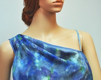 The Silk top with draping hand-painted fabric
