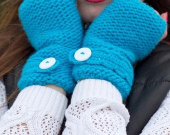 Knitted blue mittens Hand knit fingerless gloves Blue mittens Wool knit mittens Women knit mittens Handmade blue mittens Handknit gloves