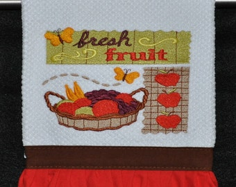 "Embroidered Dish Towel ""Fresh Fruit"""