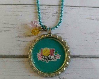Girls Sports Jewelry// Bottlecap Necklace// Softball Jewelry// Softball Gift// Softball Party Favor