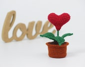 Girlfriend gift Red Heart in the pot Gift for her Romantic gift for wife Potted flower Love gift for her Anniversary gift for woman