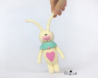 Plush bunny with heart rabbit Girlfriend gift Valentines gift for girl Stuffed bunny Stuffed animals Valentines day decor