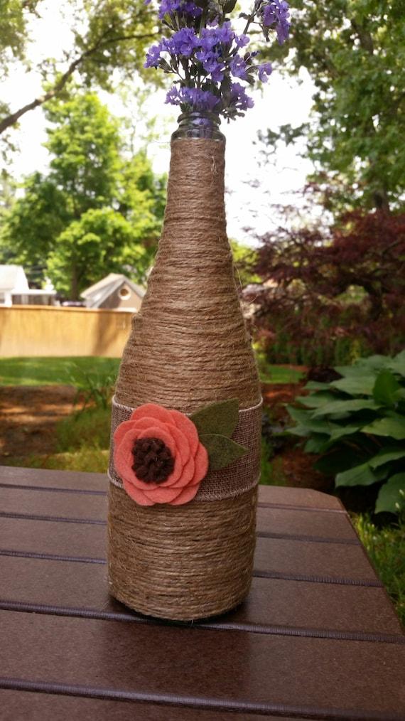 Wine bottle vase decor twine burlap centerpiece for How to make flower vases out of wine bottles