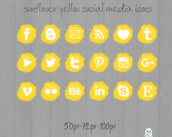 Sunflower Yellow Social Media icons - pompon - Cute Blogger Wordpress Blog Buttons PNG
