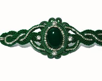 Green Agate Cabochon Soutache Bracelet