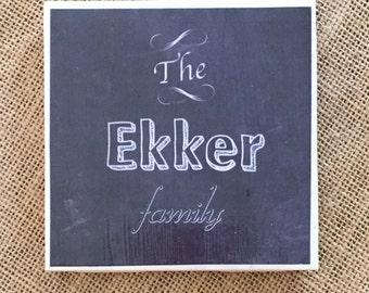 Family Name Custom Chalkboard Coasters (set of 4)