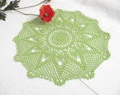 Light Green Flower Crochet Lace Doily, Modern Table Topper,  New Home Decor, Hand Crocheted Items