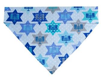 Hanukkah Dog Bandana Scarf - Stars, Menorahs, and Polka Dots