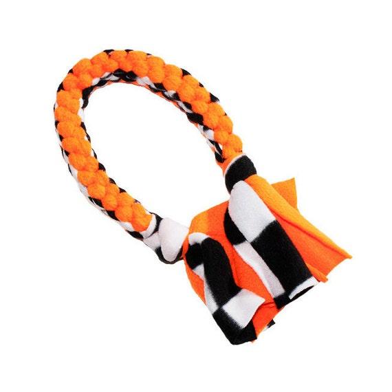 Make Dog Tug Toy: Fleece Dog Toy Tug Toy In Neon Orange And Black And White