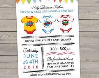 superhero baby shower invitation, comic book superhero invites, digital or printed invitations
