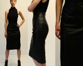 Vintage D&G Black Leather High Waisted Pencil Skirt