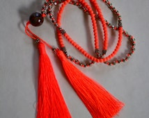 Orange tassle necklace