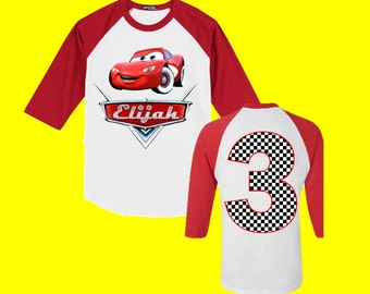 Disney Cars Birthday Shirt - Cars Birthday Shirt - Red 3/4 Sleeve is Shown
