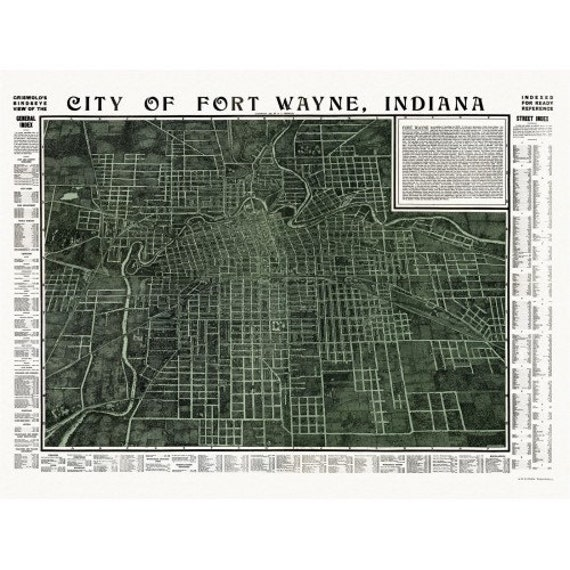 Colonial Homes In Fort Wayne : Historic map of fort wayne indiana allen county vintage