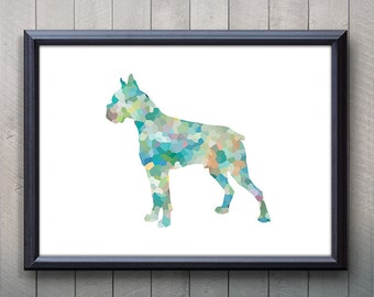 boxer dog print etsy. Black Bedroom Furniture Sets. Home Design Ideas