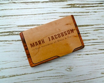 Custom Business Card Holder, Personalized Business Card Holder, Laser Engraved, Corporate gift, New Job Gift, Graduation Gift, Father's Day