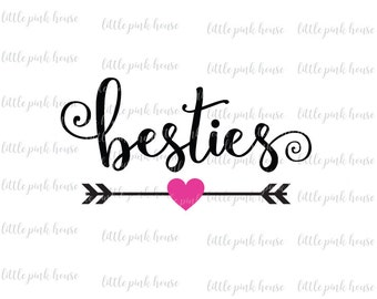 Besties Svg, Best Friends Svg, Friends Svg, Bff Svg, Heart SVG, Silhouette Cut Files, Cricut Cut Files
