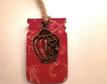 Red Floral Vintage Birdcage Bookmark