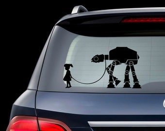 Star Wars A Girl and Her At - At Walker Decal For Laptop Car Little Girl With At At On Leash Sticker Star Wars Girls Room Decal