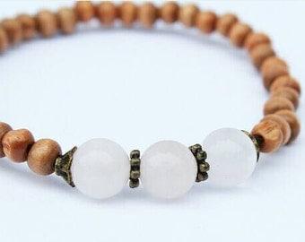 Wooden Rose Quartz Bracelet, Love Bracelet, Healing Bracelet, Rose Quartz, Wooden Bracelet, Bridesmaid Jewelry, Bridesmaids Gifts, Bracelet