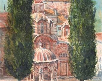 Mount Athos Hilandar Serbian Monastery, Cypress Trees (Print)