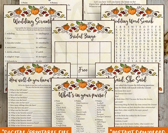 PRINTABLE Fall Pumpkin Bridal Shower Game Pack Bundle, Autumn Rustic Purse Bingo, He Said She Said, Word Search, Know Bride Instant Download