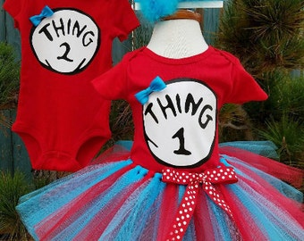 "Dr. Seuss ""Thing 1 and Thing 2"" Twin Party Outfits - Unisex Red Onesie w/ Bow or Bowtie, Turquoise & Red Tutu w/ Removeable Bow, Customize"