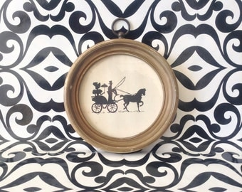 c.1960's~Carriage Ride~Silhouette~Round Frame