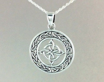 Celtic Star Necklace~Star Pendant~ Silver North Star Necklace~Knotted Necklace~Celtic Knot Pendant~Four Point Star~Viking Jewelry