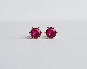 Ruby Stud Earrings, 14KT Gold Filled Ruby Post Earrings, July Birthstone Earrings