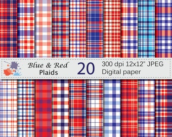 Blue and Red Plaid Digital Paper Set, Patriotic Plaid Digital Scrapbook Papers, 4th of July Instant Download