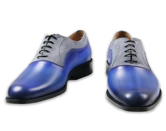 Leather men patina shoes, suede, Oxford, hand painted, made in Italy, personalized