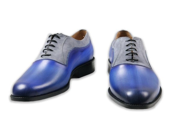 Leather men shoes, suede, Oxford, hand painted, made in Italy, personalized
