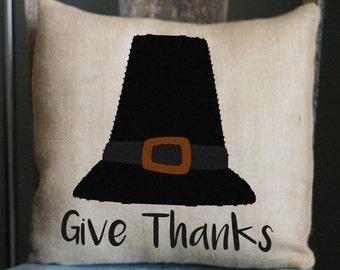 Pilgrim Hat Pillow, Thanksgiving Pillow, Turkey Pillow, Decorative Pillow, Fall Pillow, 16x16 Pillow, Hostess Gift, Burlap Pillow