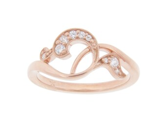 Rose Gold Diamond Ring, Art Nouveau inspired