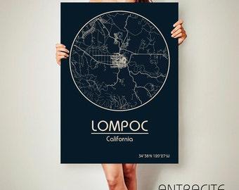 LOMPOC California Map Lompoc Poster City Map Lompoc California Art Print Lompoc California poster Lompoc California map art Poster Lompoc