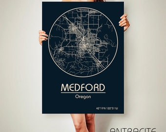 MEDFORD Oregon CANVAS Map Medford Oregon Poster City Map Medford Oregon Art Print Medford Oregon