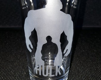 The Hulk Pint Glass / Marvel Super Hero / The Avengers / Beer or Mixed Drink Glass / Bare Ware