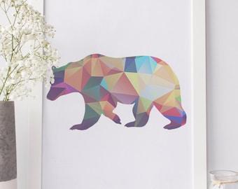 Polygon Bear - Printable Artwork - DIY