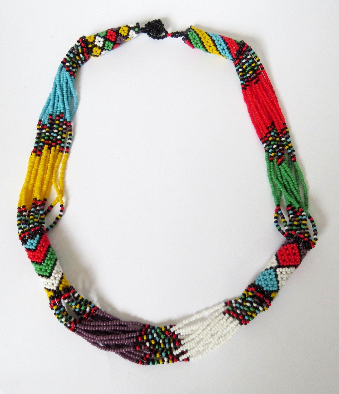 zulu beaded necklace multicolour with purple