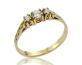 Diamond Ring In 14k Gold, Three Stone Diamond Engagement Ring, Diamond Ring, 0.6ct Diamond Ring, Anniversary Ring