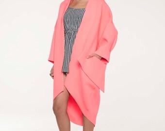 Kimono Coat, Oversized Coat, Plus Size Kimono Jacket, Wool Jacket, Long Coat, Loose Coat, Asymmetrical Coat, Designer Coat, Pink Coat