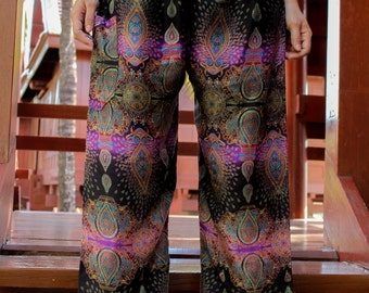 Hobo pants hippie pants harem pants peacock pants light black purple
