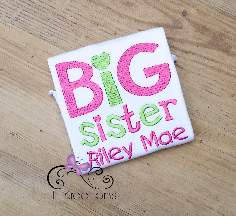 Big sister shirt big sister announcement shirt personalized for Big sister birth announcement shirts