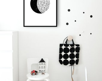 I love you to the moon and back. Hand written, Quotes, Downloadble Artwork, Typography Decor, Prints for nursery