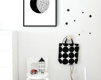 I love you to the moon and back. Escrito a mano, imprimible, arte para pared, láminas imprimibles, Poster, tipografía, motivacional