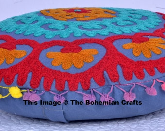 Turkish Style Suzani Cushion Covers Wool Embroidered Pillow Covers Handcrafted Indian Pillows 16'' Round Shape Cushions Traditional Pillows